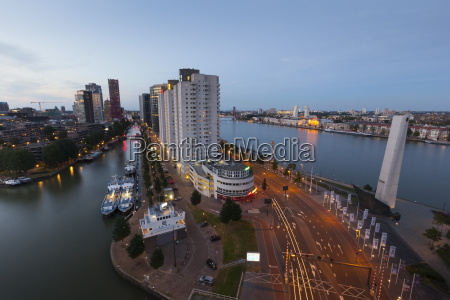 netherlands rotterdam cityscape in the evening