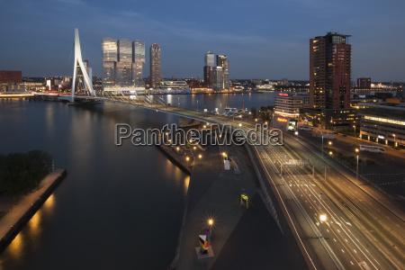 netherlands rotterdam erasmusbrug and nhow hotel