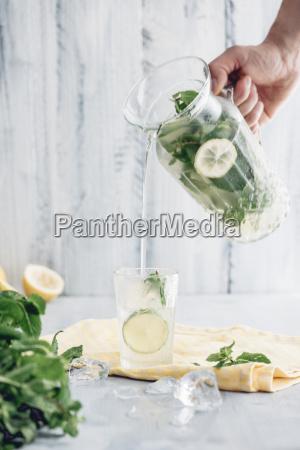 fresh homemade lemonade with mint