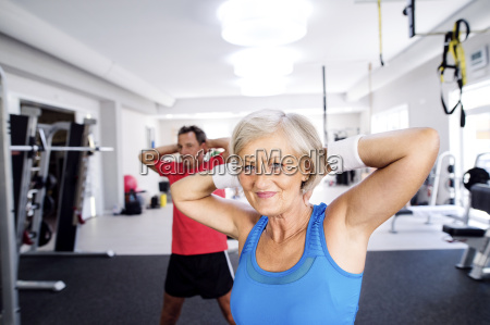 mature woman and senior man doing