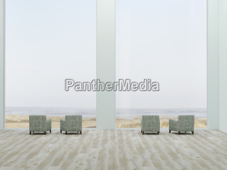 lounge with four armchairs and view