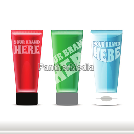 vector set of plastic colored tube