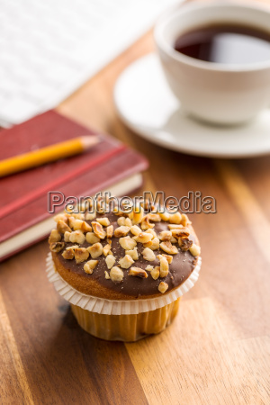 break for coffee and muffin at