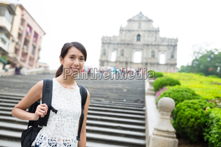 asian woman traveler in macao city