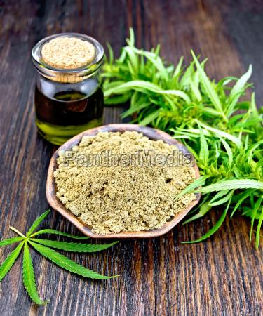 flour hemp in bowl with oil
