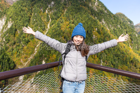 woman hand raising up at tateyama