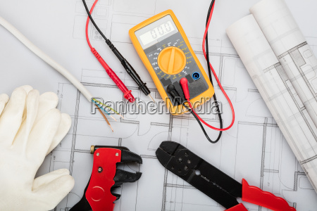 electrical components arranged on plans
