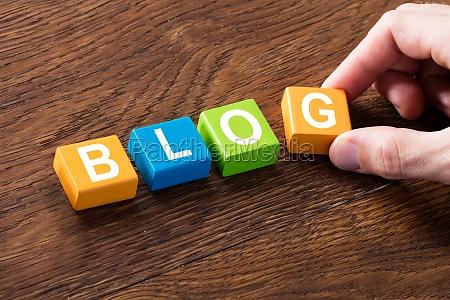 blog concept on wooden desk