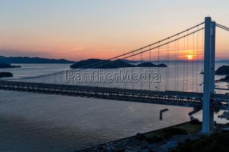 great seto bridge during sunset