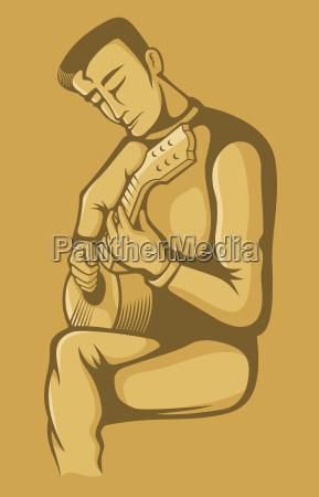 the guitarist on beige