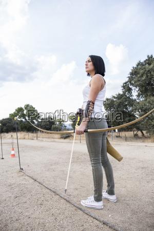 archeress on sports field