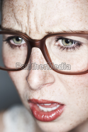 close up of angry female face