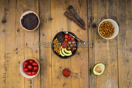buddha bowl of black amaranth avocado