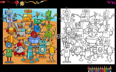 cartoon robots coloring page