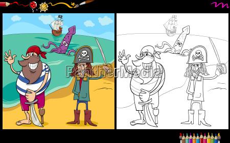 cartoon pirates coloring page