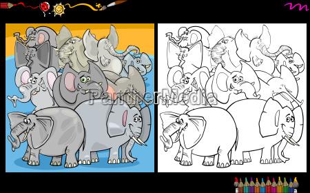 karikatur, elefanten, malvorlage - 20227975