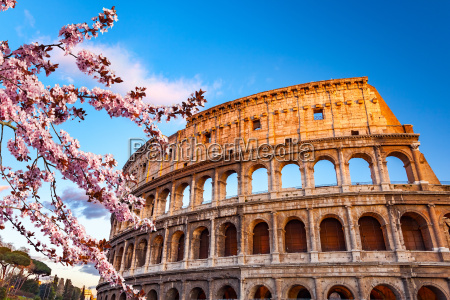 colosseum at spring sunset