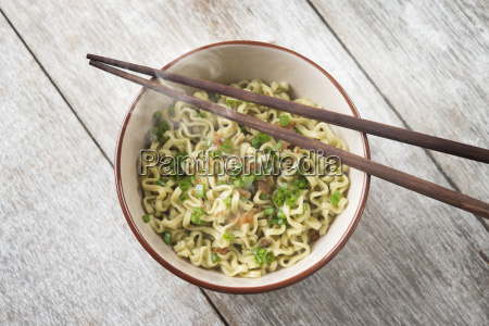 asian dried ramen noodles bowl top