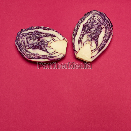 red cabbage on a red background