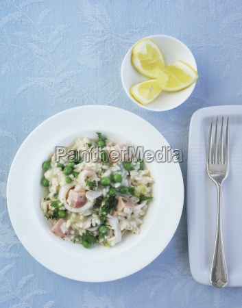 risotto with fish and peas