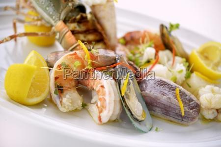 a mixed seafood platter close up