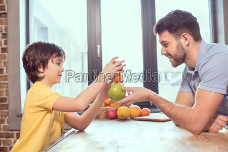 side view of happy father and