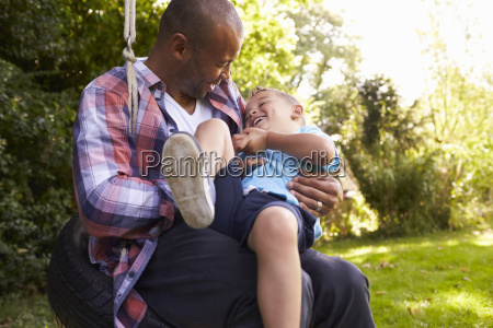father and son having fun on