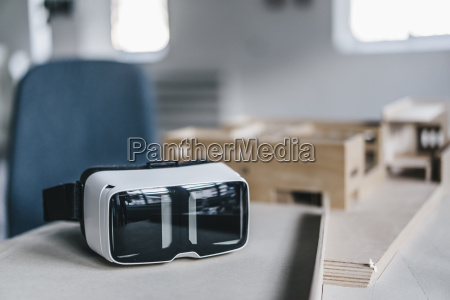 vr glasses and architectural model on