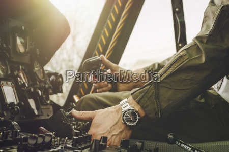 close up of pilot in cockpit