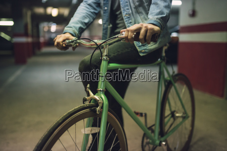 man with his fixie bike in