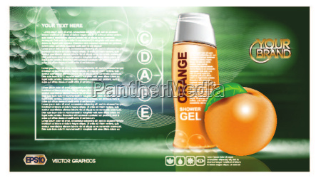 digital-vektor-orange, und, grün, duschgel - 20602215