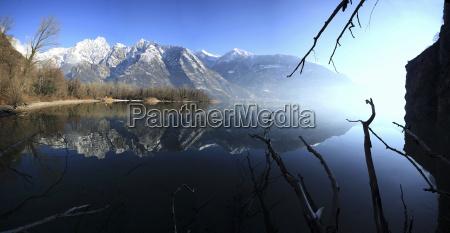 panoramic view of lake mezzola in