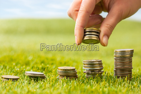 the columns of coins on grass