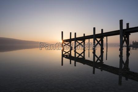 germany reichenau island wooden boardwalk at