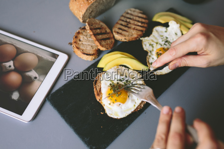 breakfast with eggs avovados and toasted