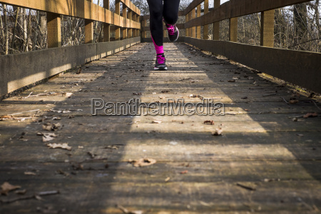 close up of woman running on