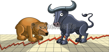 schaubild risiko baer bulle verlust illustration