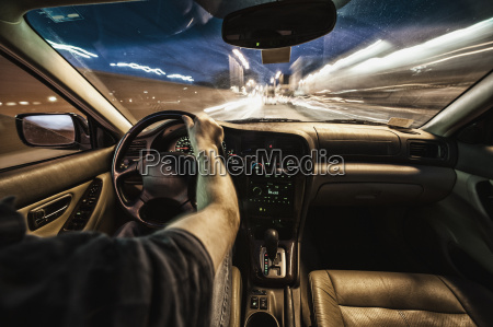 interior of car driving through city