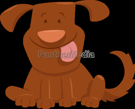 funny dog with tongue cartoon
