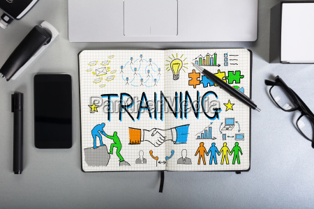 training chart on notebook