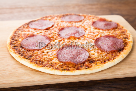 homemade salami pizza
