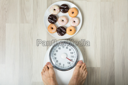 dish of donuts and person measuring