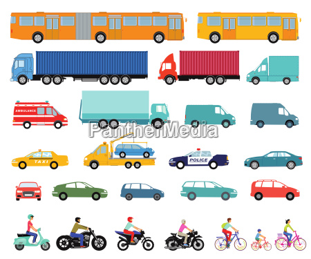 autos lkw bus roller motorrad satz