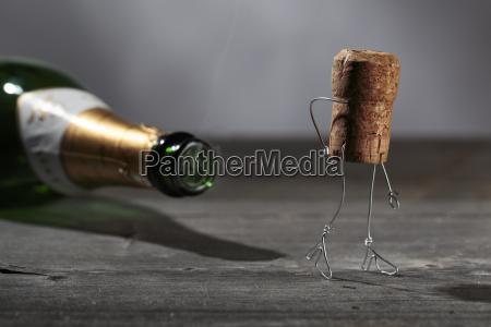champagne cork manikin