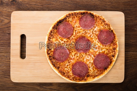 elevated view of a homemade pizza