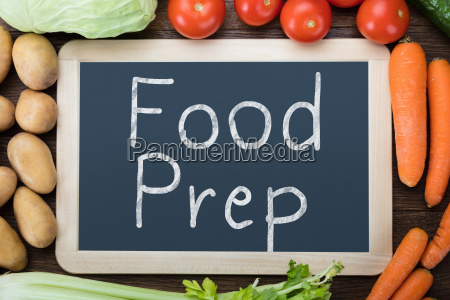food preparation words on slate with