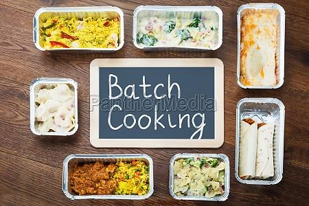 batch cooking text written on slate