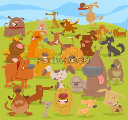 cartoon cute dogs group