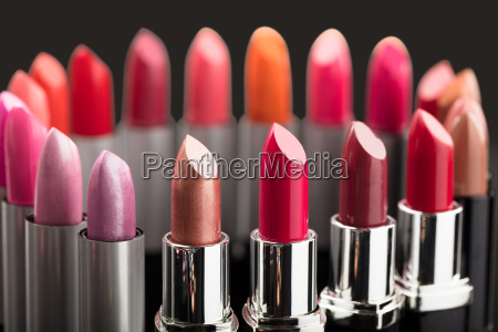 colorful lipstick in a circle