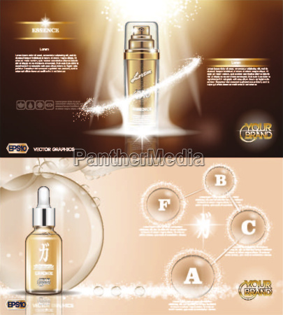 digital vector golden glass bottle spray